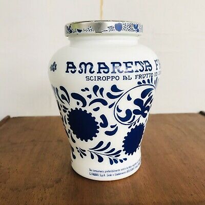 Amarena Fabbri Italy Faenza Blue & White Fruit Milk Glass Ginger Jar Lid ~ Empty