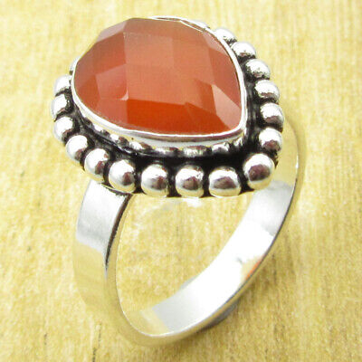 Classic Carnelian Ring Size 9.25 OLD STYLE ! Silver Plated Metal Jewellery NEW