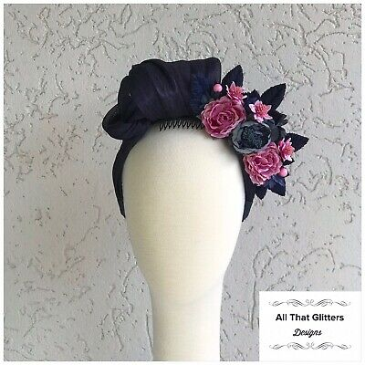 Ladies Navy & Pink Tones Turban Fascinator Wedding Races Melbourne Cup