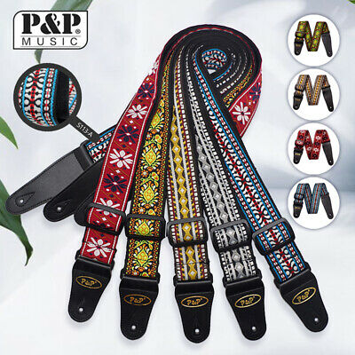 Braid Embroidered Woven Guitar Strap Leather End for Bass/Acoustic/Electric