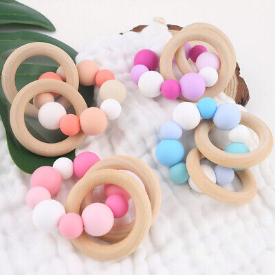 Wood Silicone Beads Baby Chew Teether Rattle Teething Bracelet Shower Gifts Toy
