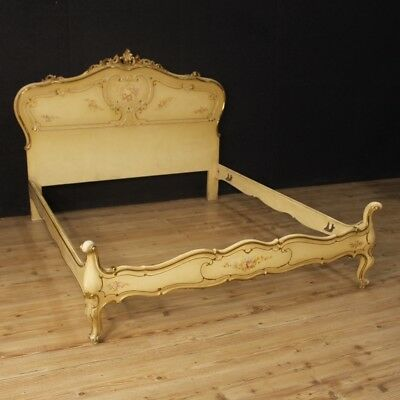 Double Bed Venetian Wooden Lacquered Painting Antique Style 900 Furniture