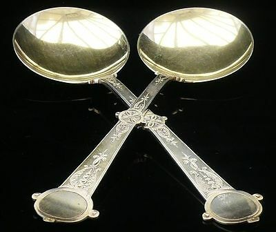 Pair of Arts & Crafts Silver Serving Spoons, Sheffield 1877, Martin Hall & Co