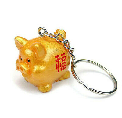 Lucky Fengshui Golden Pig Keyrings Keychains Key Rings Chains Decoration Gift