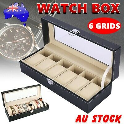 Watch Jewelry Display Storage Holder Case 6 Grids Box Organizer Gift AU