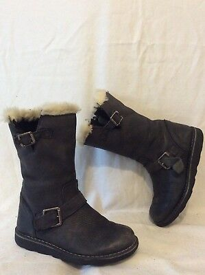 Girls John Lewis Dark Grey Leather Boots Size 12