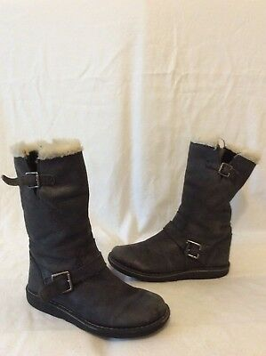 Girls John Lewis Grey Leather Boots Size 1