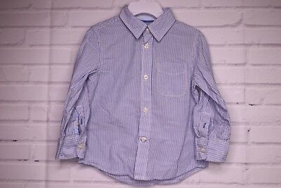 H&M LOGG Shirt Long Sleeve Striped Blue Button Toddler Boys Size 1.5 To 2 Years
