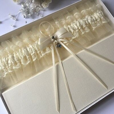Tulle Wedding Garter Boxed, Plus Size/Large, Ivory With Blue Heart Charm