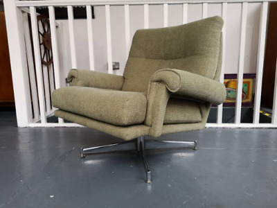 1970s Upholstered Swivel Armchair by Howard Keith. Vintage/Retro/Mid Century