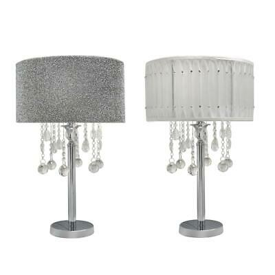 Chrome Table Lamp With Crystal Cut Glass Droplet Diamante Studded Pleated Shade