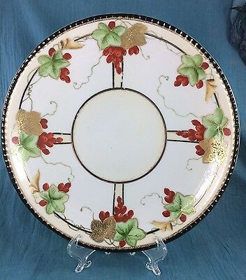Antique Hand Painted Nippon Plate Leaf Mark Porcelain Ornate Beautiful Orange