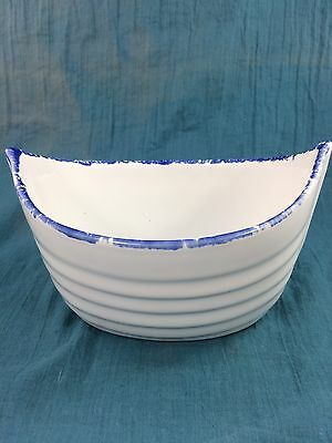 Deltis Small Blue Ceramic Boat Multi Use Bowl Made in Portugal NW 6in.Lx3 1//3inW