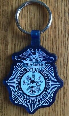 HARLEY-DAVIDSON FIREFIGHTER Logo Rubber Rubberized KEY CHAIN RING FOB - NEW