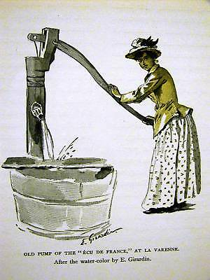 Girardin OLD WATER PUMP AT LA VARENNE 1898 Antique Art Print Matted