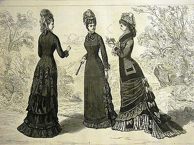 Victorian Fashion LADIES SKIRTS & JACKETS PRINCESS BACK 1877 Antique Art Matted