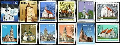 Stamp SET of ESTONIA 2004 - 2013 - Churches of Estonia ( 11 stamps)