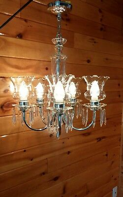 Antique 20s/30s Art Deco Crystal/Glass Slip-Drop Shade Chandelier Ceiling Light