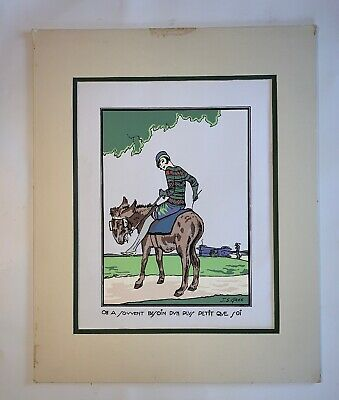 Vintage Art Deco French colored print signed by artist J. S. Gree