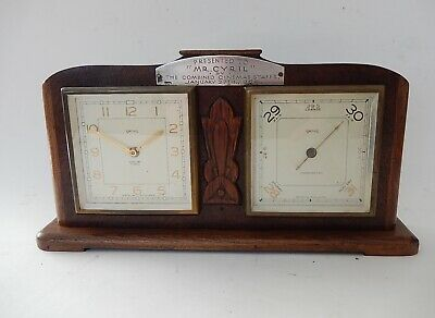 Smiths Desk Clock & Barometer in mahogany case  Fully working 2879