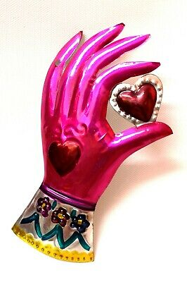 Authentic Mexican Natural Tin Folk Art Cuffed Pink Hand Milagro Holding Heart ❤️