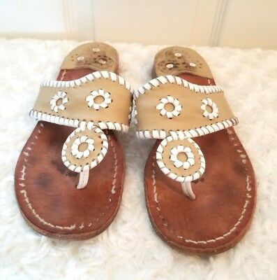 3ed45901b327 Jack Rogers Womens Size 7M Tan White Leather Thong Sandals Palm Beach  Whipstitch