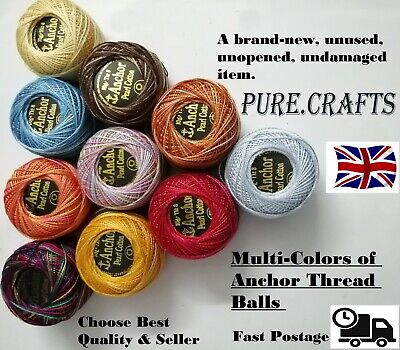 10 ANCHOR Pearl Cotton Crochet Variegated solid Balls Size No.8 Thread 85 Meter