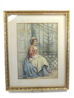 Antique 19th century Continental watercolour portrait painting Italian lady