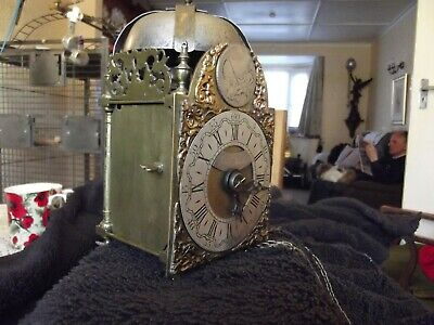 Circa 1750 Miniature Lantern Clock Non Fusee But Verge Escapement Hook And Spike