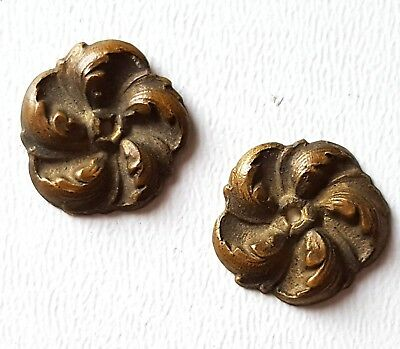 Small brass rosette mount x 2 Frame box Miniature French salvaged hardware 0.55