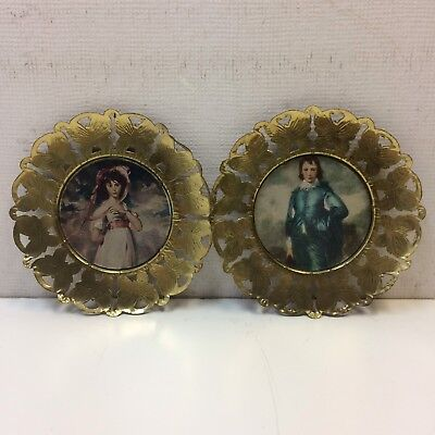 VTG Mid Century Brass Butterfly Framed Wall Hanging Picture England Boy Girl Set