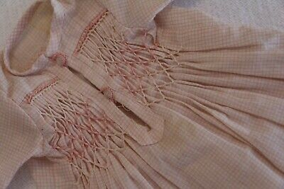 9c633f06f51 Vintage Pink Cotton Doll Dress, Smocking Embroidery for Antique Doll, 9 IN  Long