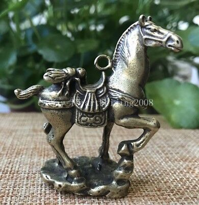 5 CM Chinese Pure Copper Brass Zodiac Horse And Fly Statue Pendant
