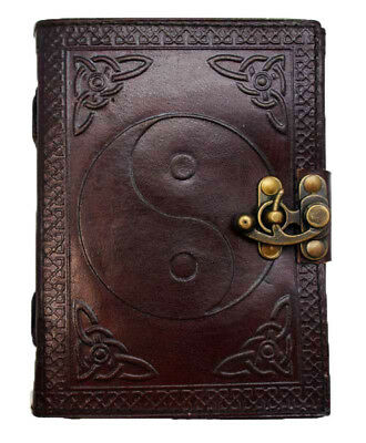 Ying Yang Hand Tooled Leather Blank Book Diary Journal Embossed Metal Latch