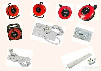 Electric Extension Cable Lead & Reel With 6,4,2,1 Way Gang 2,3,5,10 Metre Cable.