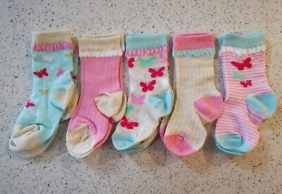 Ex F&F ~  5 Pairs of Cute Girls Butterfly Socks size 9-12