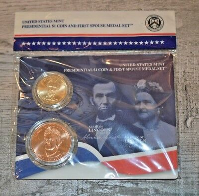United States Mint Presidential $1 Coin & First Spouse Medal Set-Abraham Lincoln