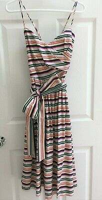 a47801ebb78c NWT 1901 NORDSTROM Size 12 Fit N Flare Navy Pink Striped Dress (MSRP $129)