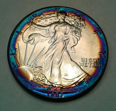 1987 1oz. silver american eagle dollar with beautiful toning,  TONED $.