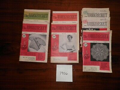Lot of 7 Vintage Issues (1956) The WORKBASKET Magazine