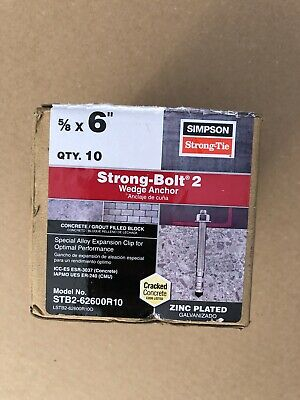 Strong Bolt STB2-62600r10 Wedge Anchor 5/8-Inch by 6Inch, 10 per box