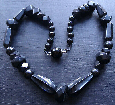 antique Victorian Whitby Jet carved bead & matching clasp black necklace -T84