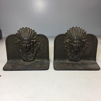 Awesome 1930'S Antique Cast Iron Indian Chief Bookends