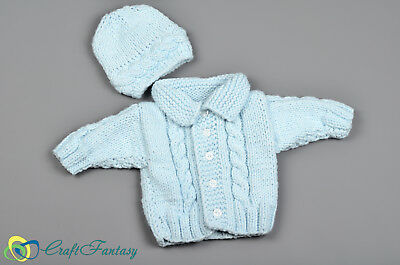 New Hand Knitted Blue Baby Aran Style Cardigan and Hat Newborn