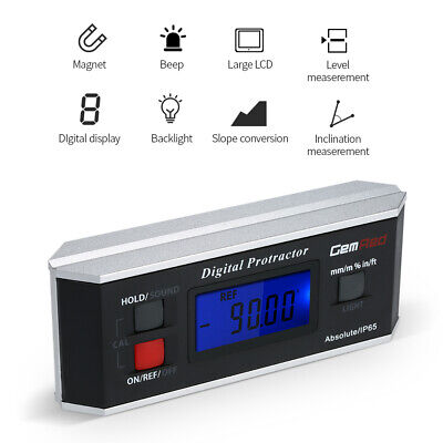 GemRed Backlight LCD Digital Level Box Protractor Angle Finder Gauge IP65 O2T8