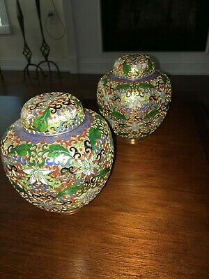 "Pair Chinese Cloisonne Enamel 6"" Lidded Open Work Ginger Jars, Gilt Background"