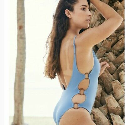a1f62bec0a4 *NEW* American Eagle Aerie Blue Rings V-neck One Piece Bathing Suit Size