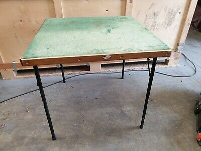 Large Square Vintage Folding Card Table With Green Felt Table Top