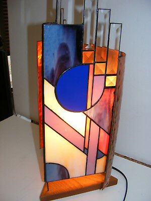 ARTS & CRAFTS Art DECO NOUVEAU LAMP Hammered COPPER & Leaded Slag Glass Stained