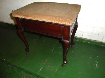 Queen Anne Style Mahogany Piano Stool